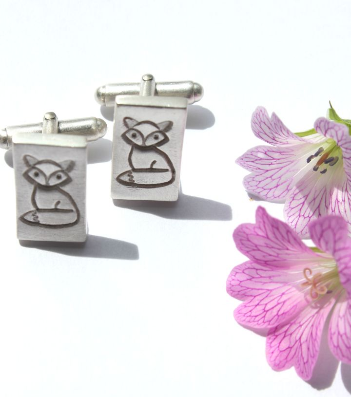 Silver fox cufflinks by Little Silver Hedgehog