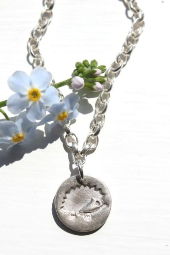 Hedgehog bracelet handmade in fine silver by Little Silver Hedgehog
