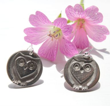 Heart owl earrings handmade in fine silver by Little Silver Hedgehog