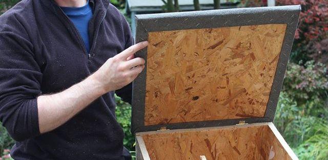 Homemade DIY hedgehog house hedgehog box