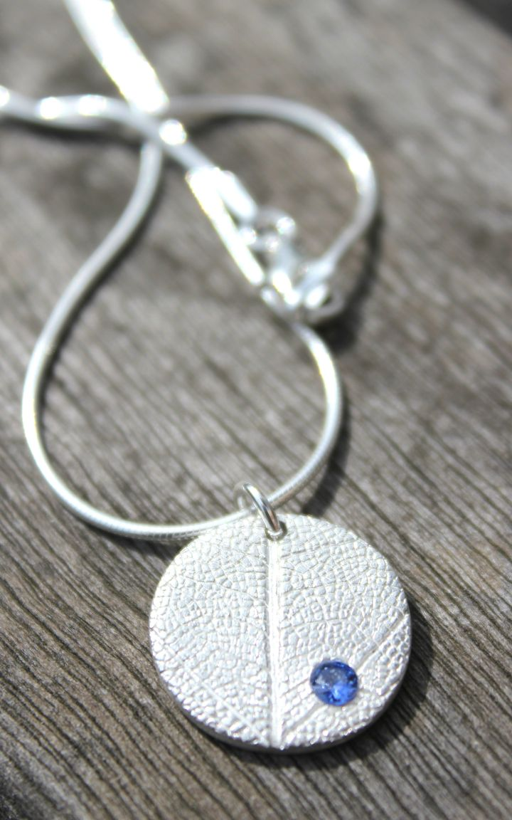 Silver leaf and sapphire pendant by Little Silver Hedgehog
