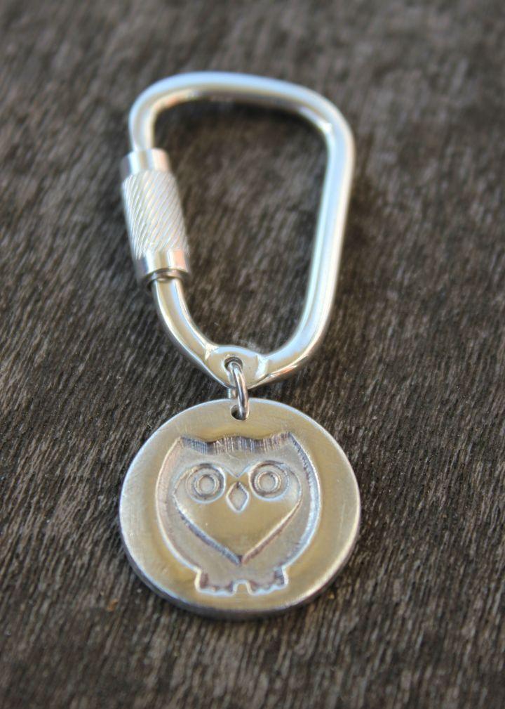 Silver owl keyring, silver owl keychain by little silver hedgehog