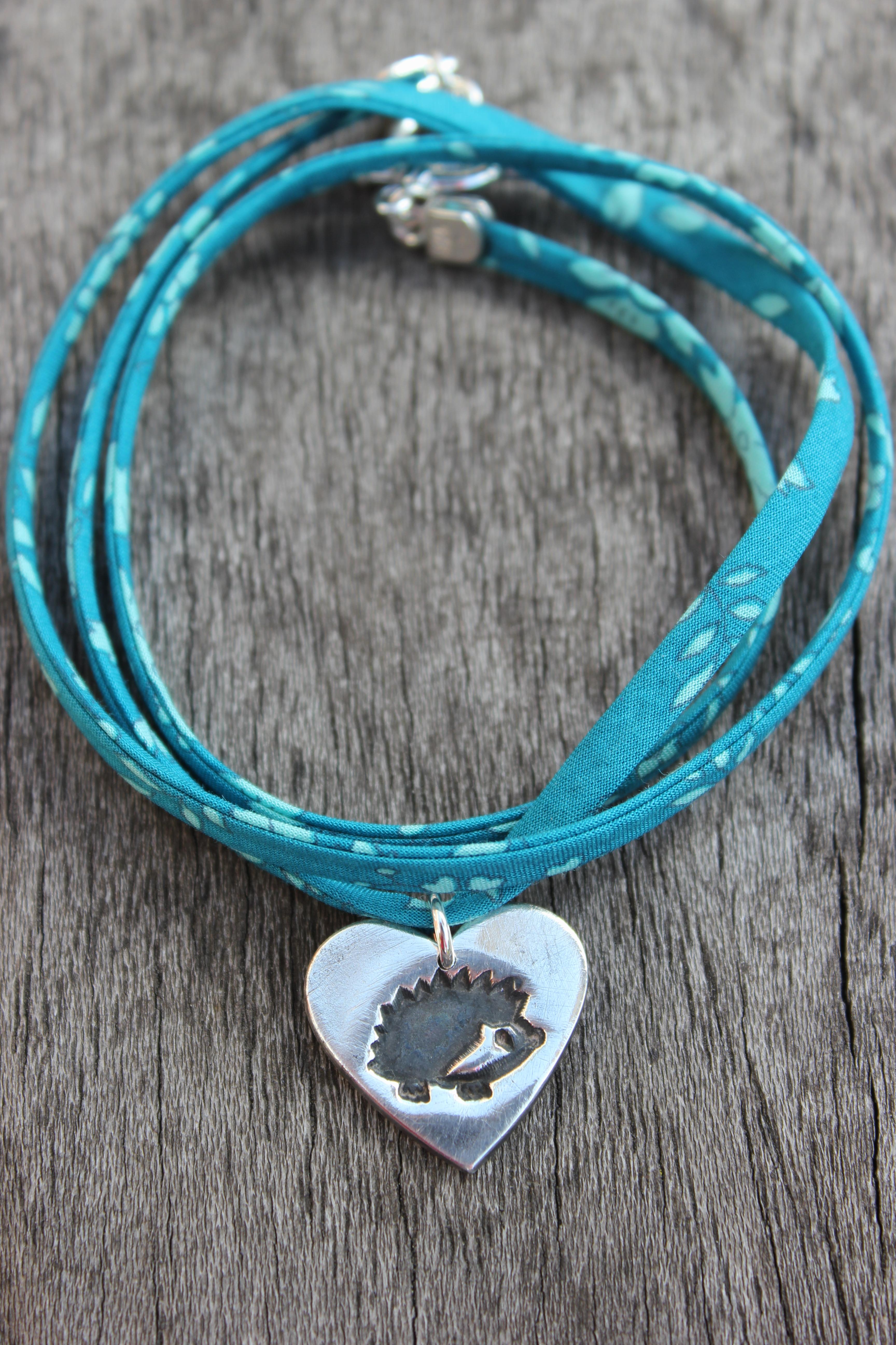 Liberty ribbon silver hedgehog bracelet by little silver hedgehog