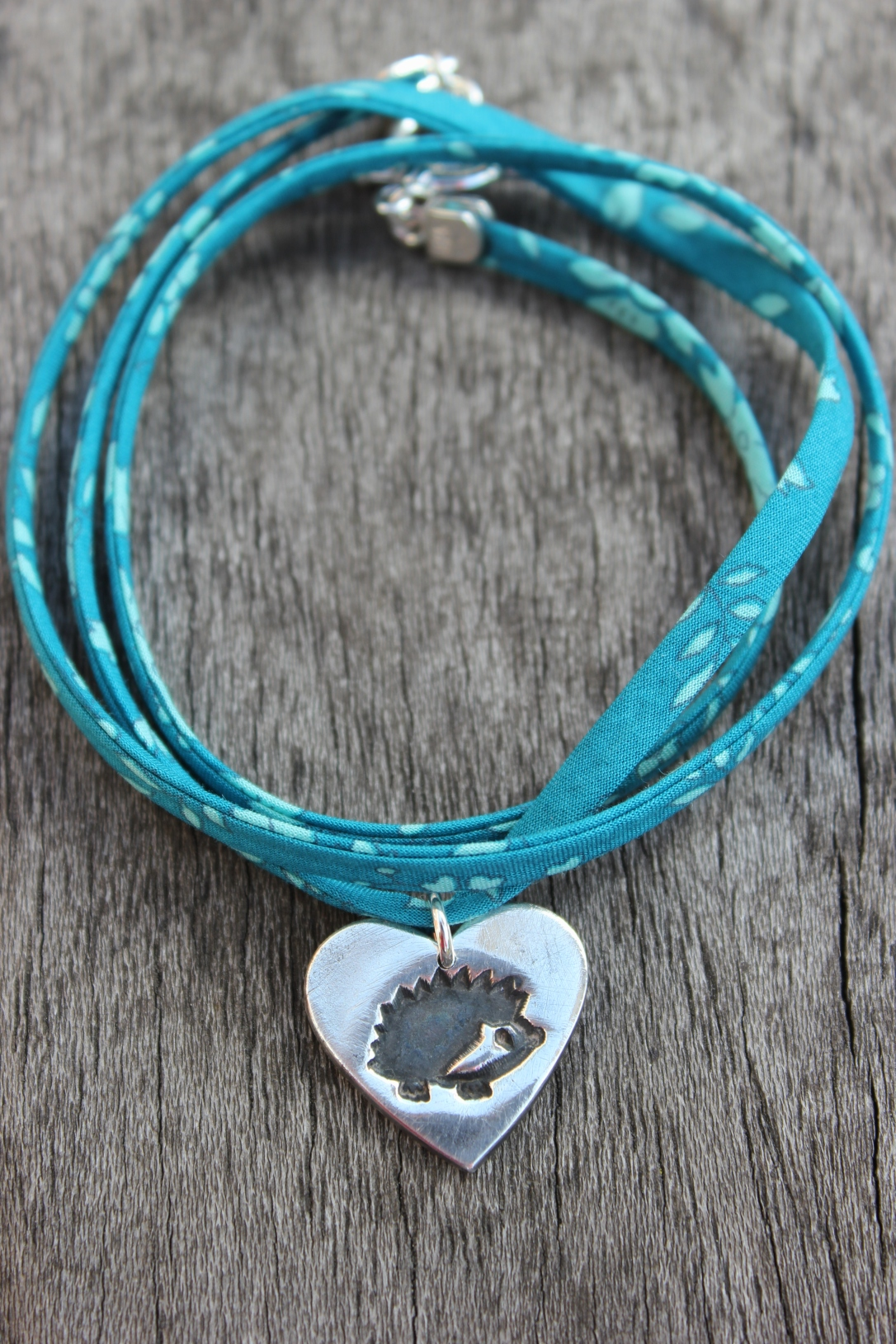 Liberty ribbon silver hedgehog bracelet by little silver hedgehog