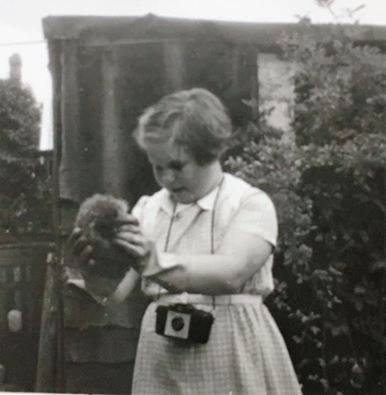 Mum with hedgehog as young girl