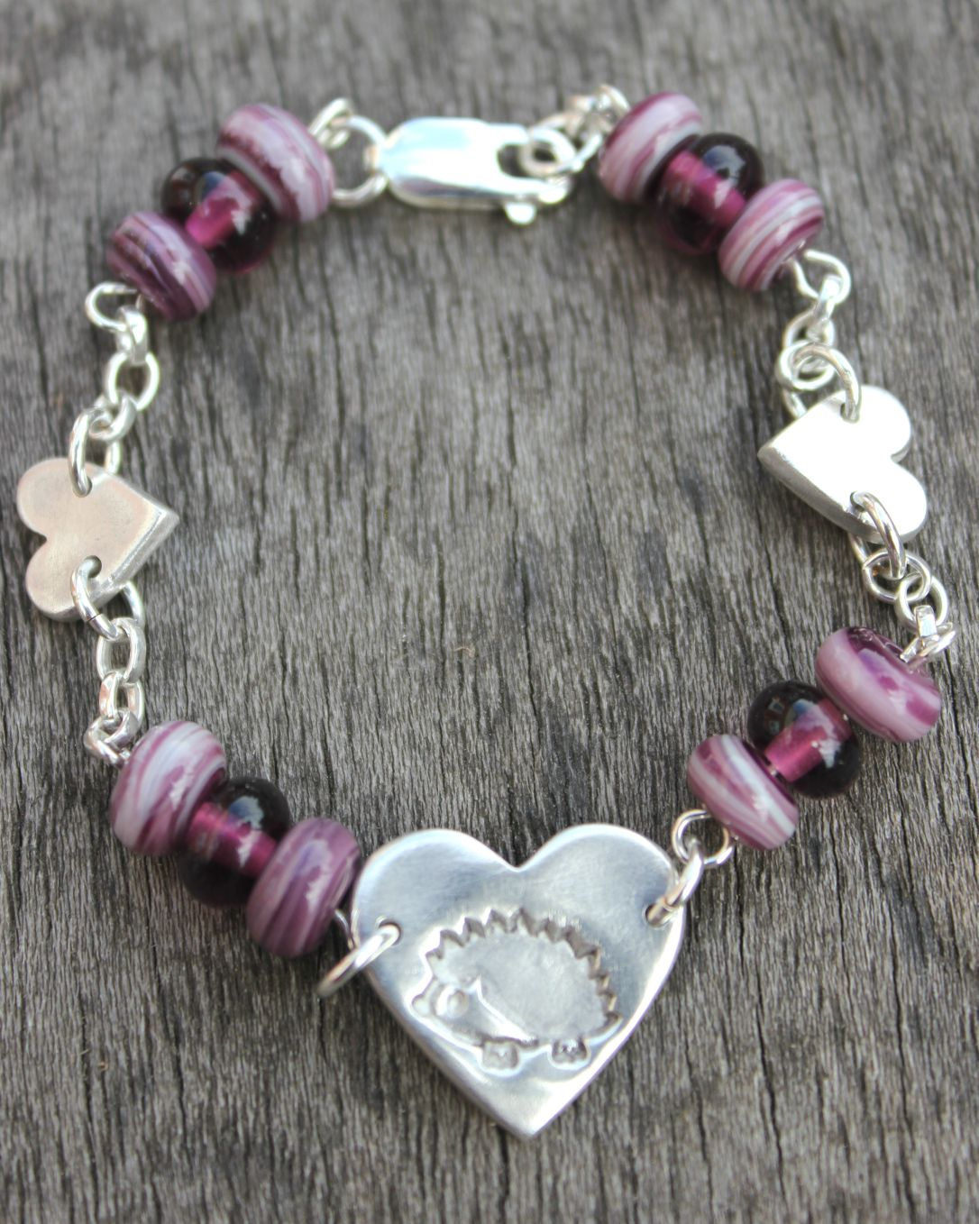 Hedgehog heart bracelet, silver hedgehog bracelet, glass bead bracelet by Little Silver Hedgehog