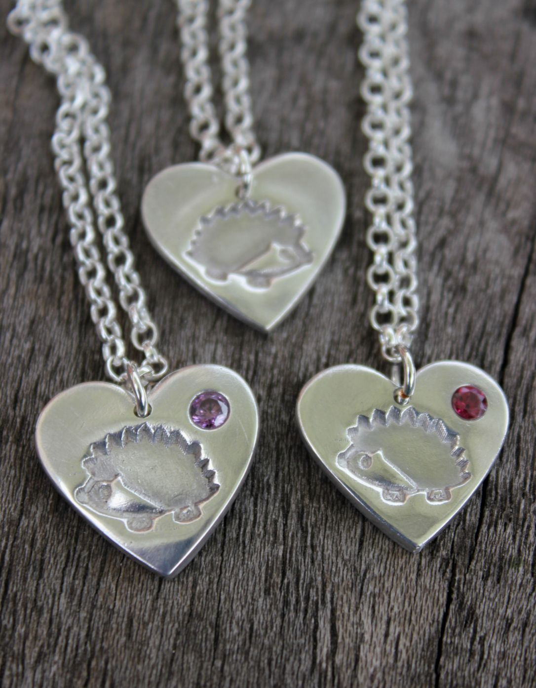 Hedgehog heart pendants, hedgehog heart necklace with inset birthstones, birthstone pendant, birthstone necklace