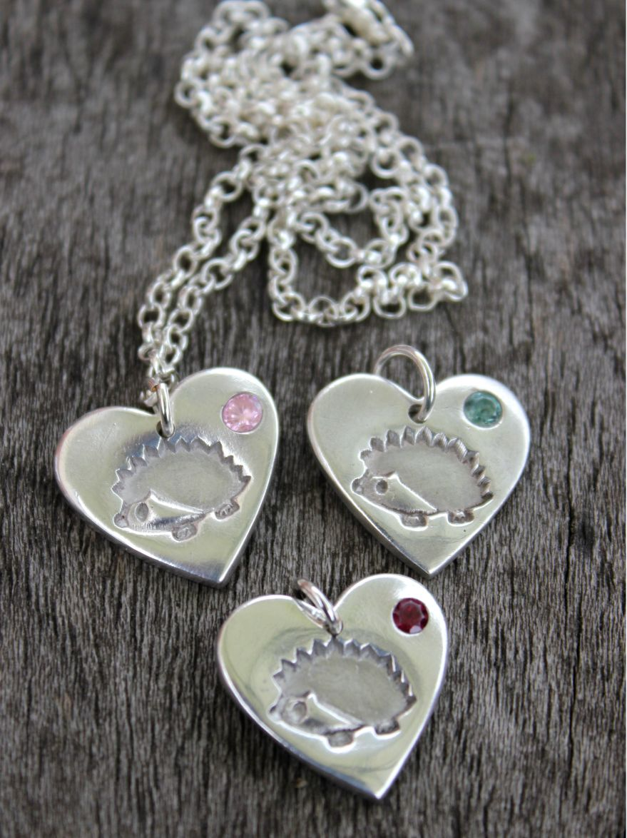 Hedgehog birthstone pendant necklace