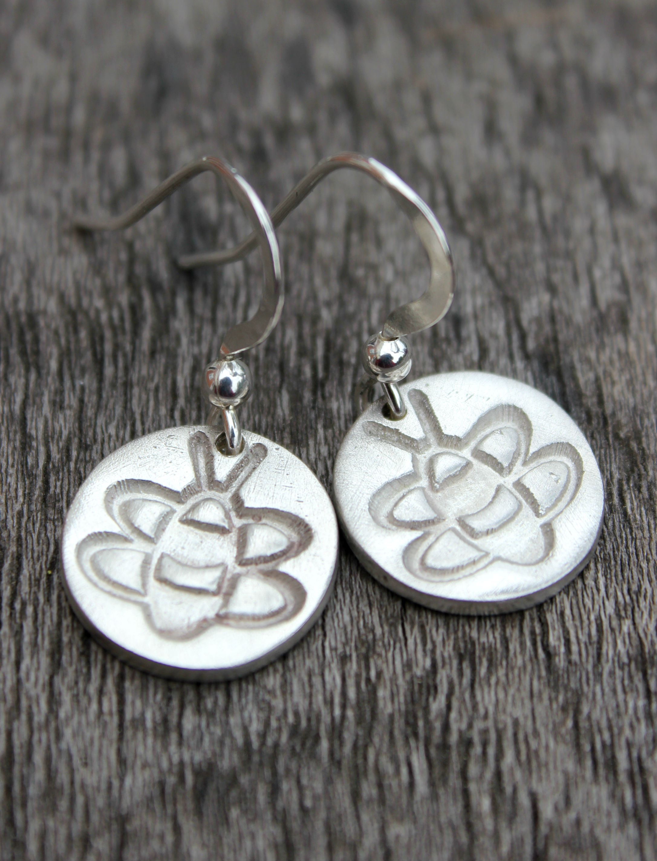 Silver bumblebee earrings, silver bee earrings, silver honeybee earrings by little silver hedgehog