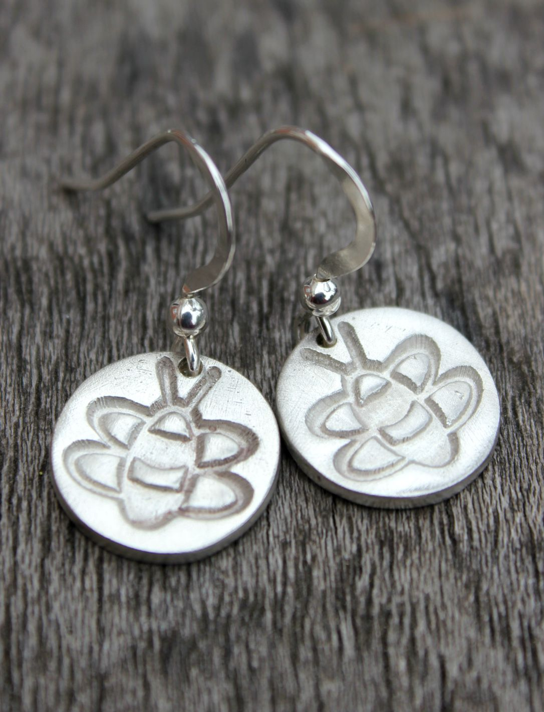 Silver bumblebee earrings, silver bee earrings