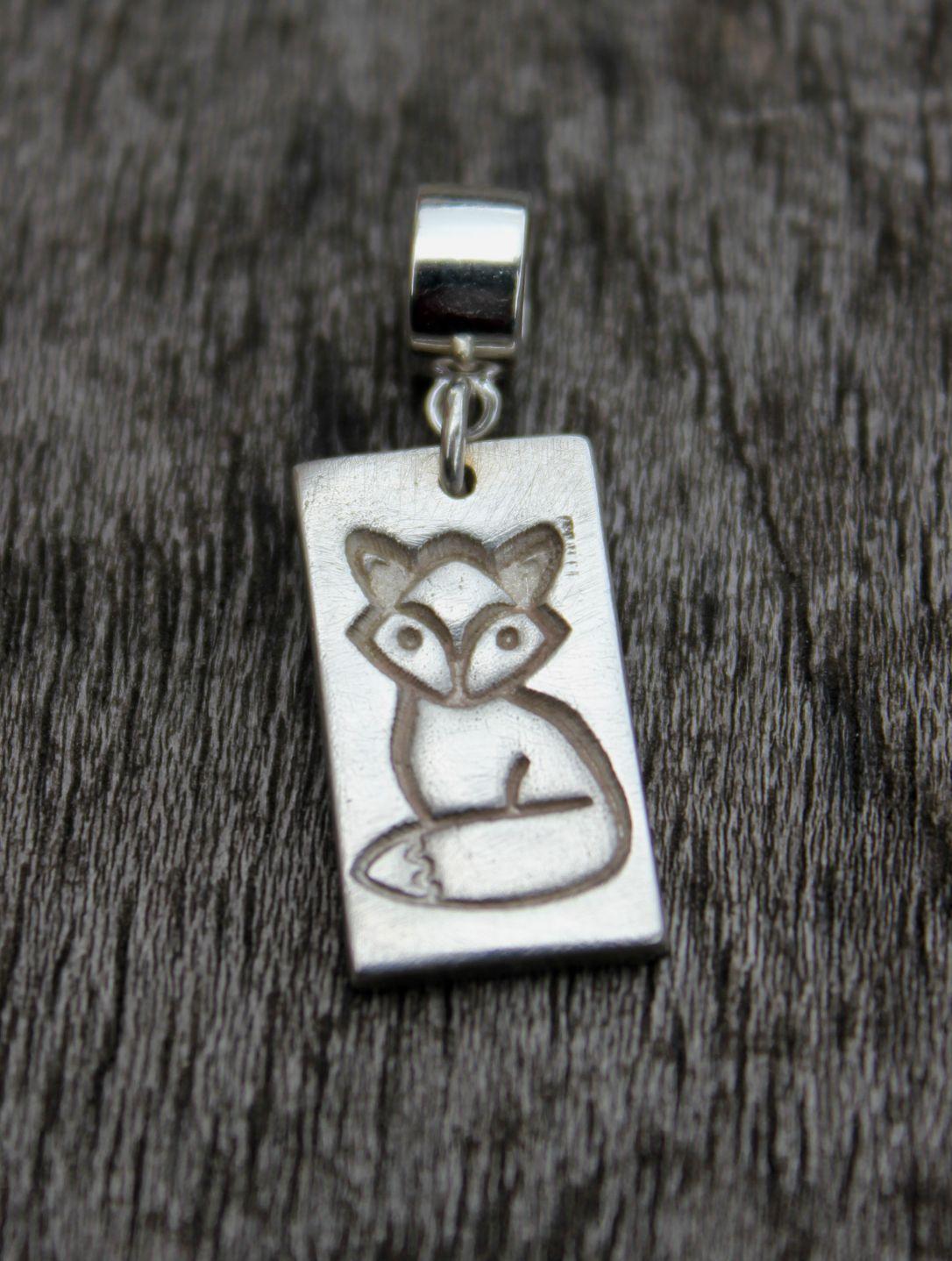 Silver fox charm, pandora fox charm, handmade fox charm, fox lover gift, sterling fox charm