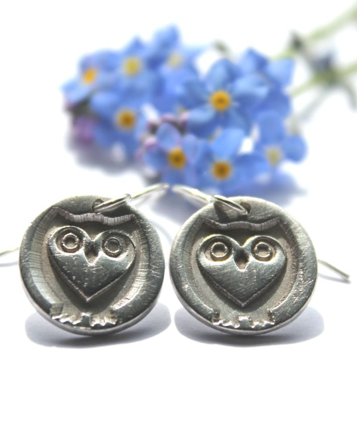 Silver owl earrings, sterling owl earrings, silver heart owl earrings by Little Silver Hedgehog