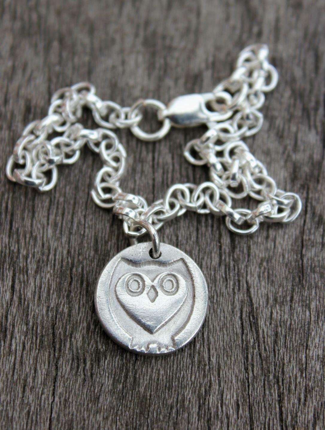 Tiny silver owl bracelet, silver owl bracelet, heart owl bracelet by little silver hedgehog