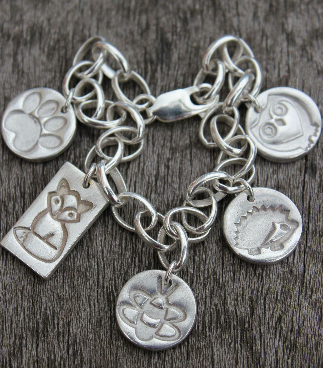 woodland charm bracelet, british wildlife charm bracelet, silver wildlife charm bracelet, nature lover silver charm bracelet