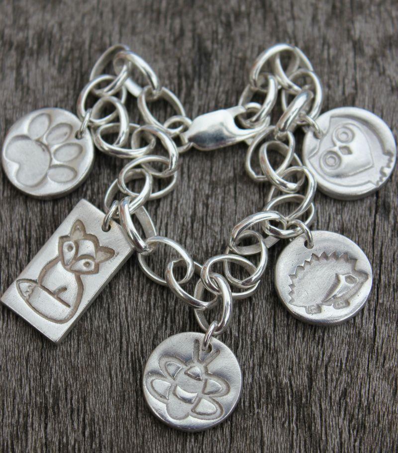 woodland charm bracelet, british wildlife charm bracelet, silver wildlife charm bracelet
