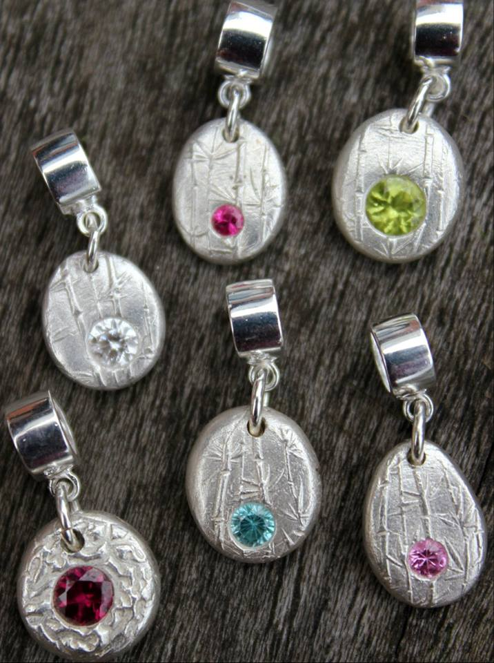 Solid silver birthstone pebble charms