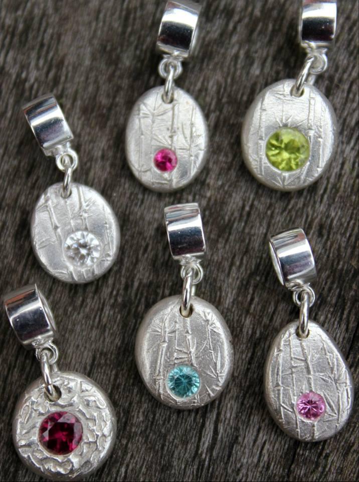 Birthstone pebble charms