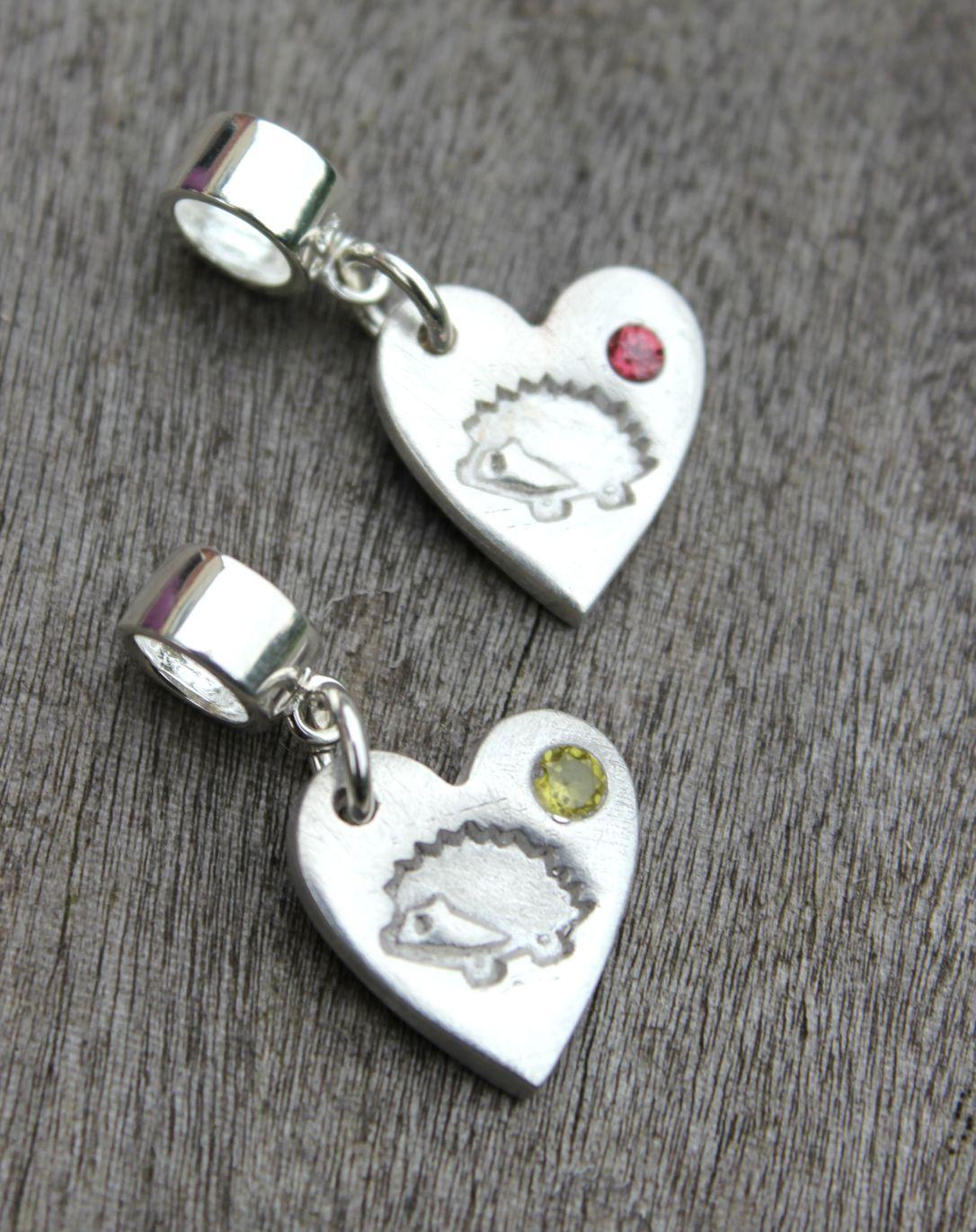 Birthstone hedgehog heart charms by little silver hedgehog.JPG