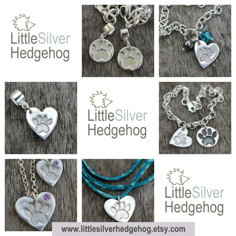 Paw print pet jewellery by Little Silver Hedgehog