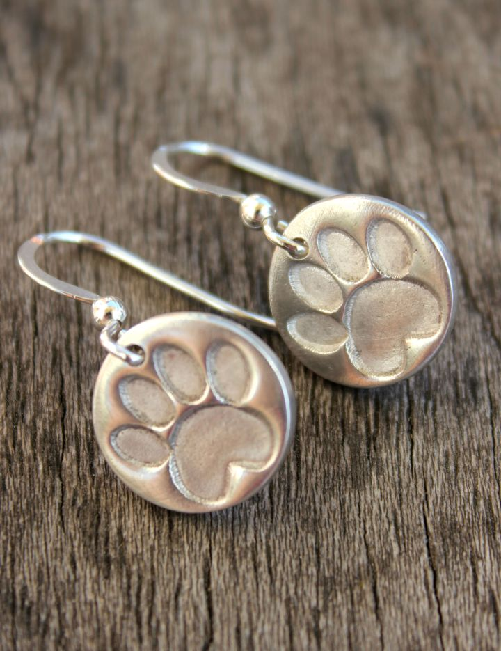 silver pawprint earrings, silver cat paw earrings, silver dog paw earrings, paw print earrings by little silver hedgehog