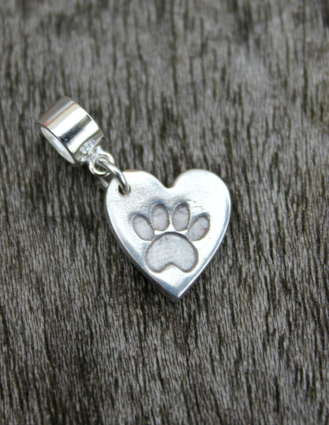 Silver pawprint heart Pandora charm by Little Silver Hedgehog