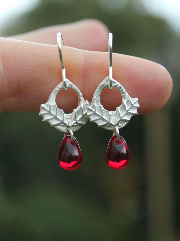 Holly berry earrings by Little Silver Hedgehog