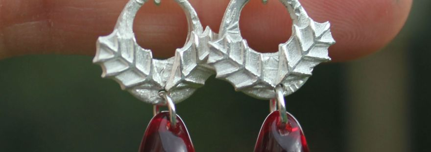 Holly berry earrings by Little Silver Hedgehog