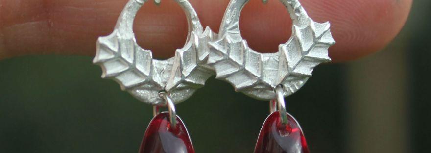 Holly earrings, holly jewellery
