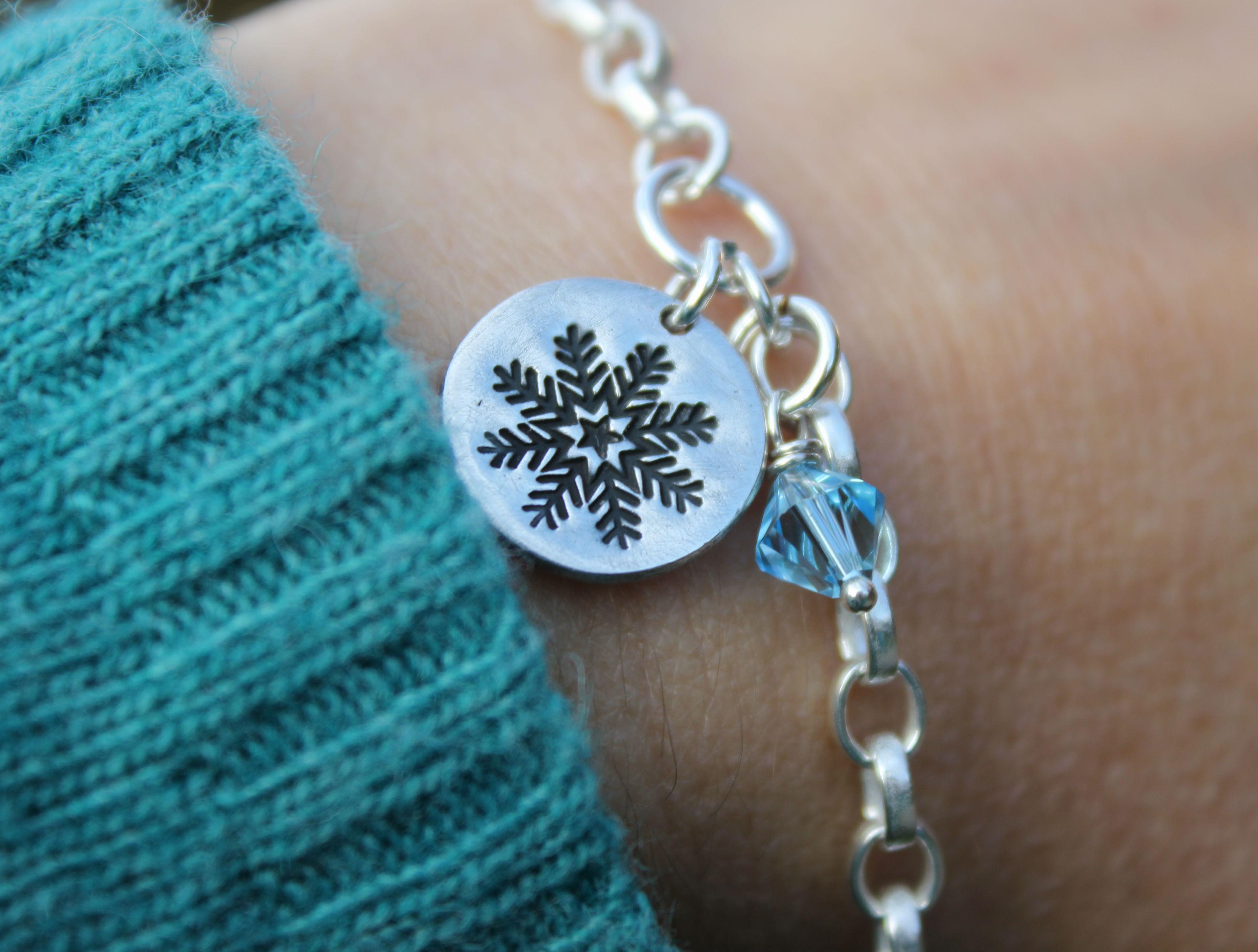 Silver snowflake charm bracelet