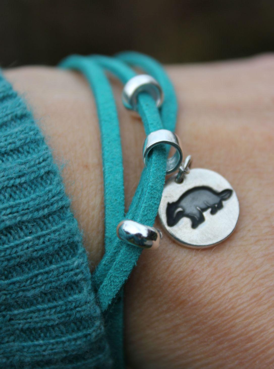 Silver badger charm bracelet