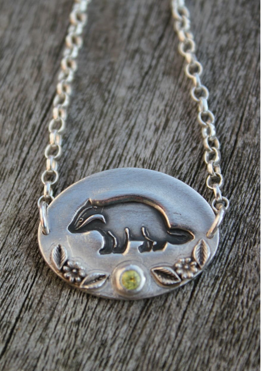 Badger pendant necklace by little silver hedgehog