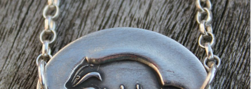 Silver badger necklace by little silver hedgehog