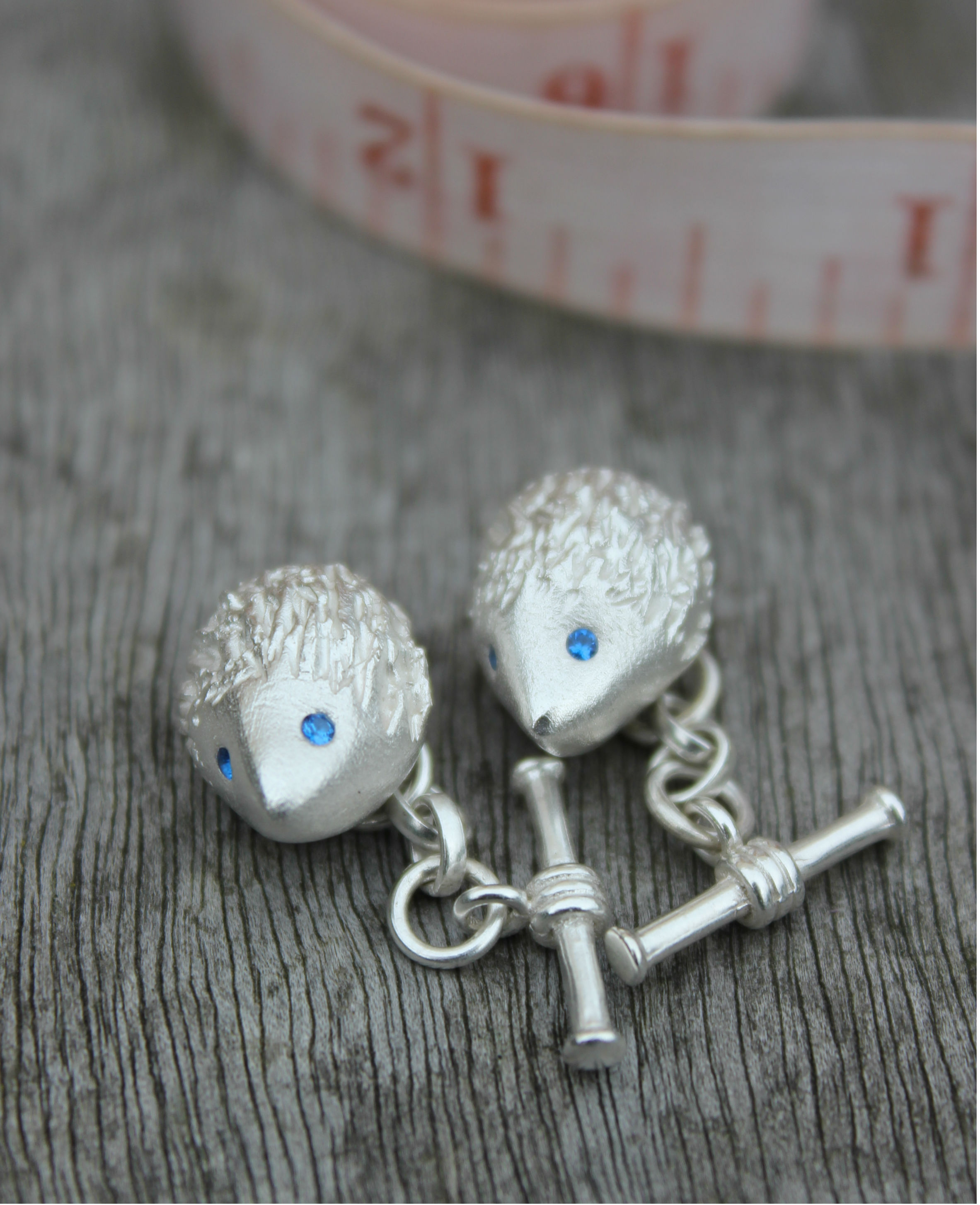 Solid silver hedgehog cufflinks