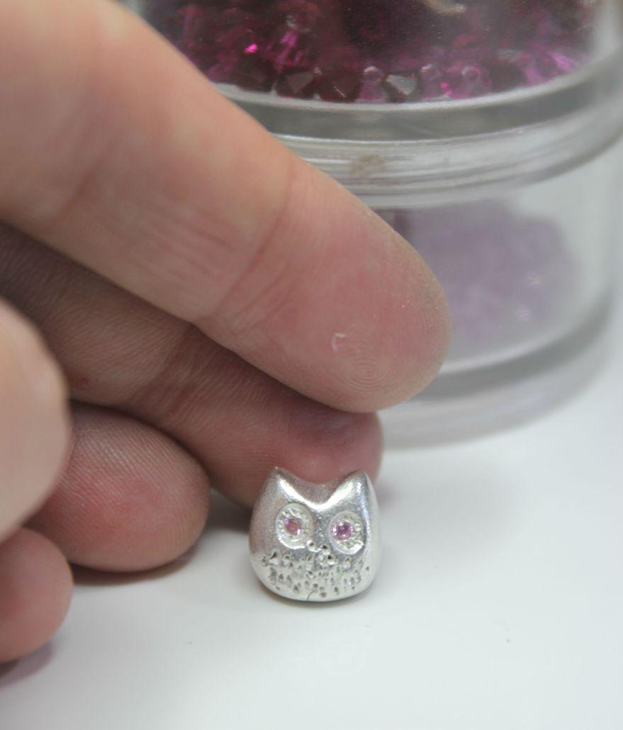Tiny silver owl sculpture miniature owl