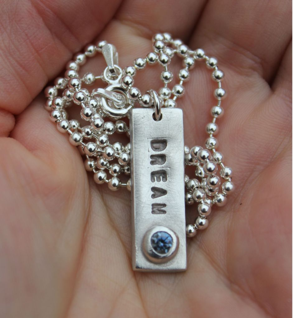 Personalised silver name tag pendant, name necklace