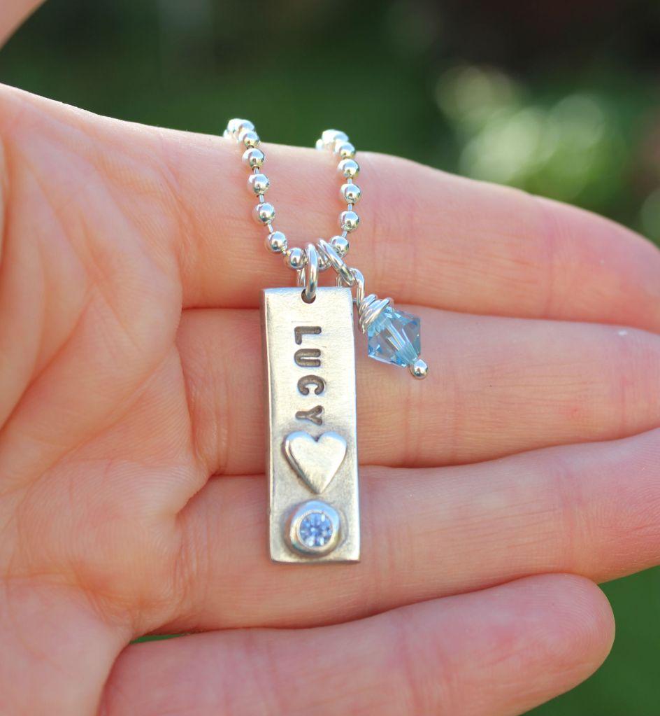Name tag pendant, personalised name pendant