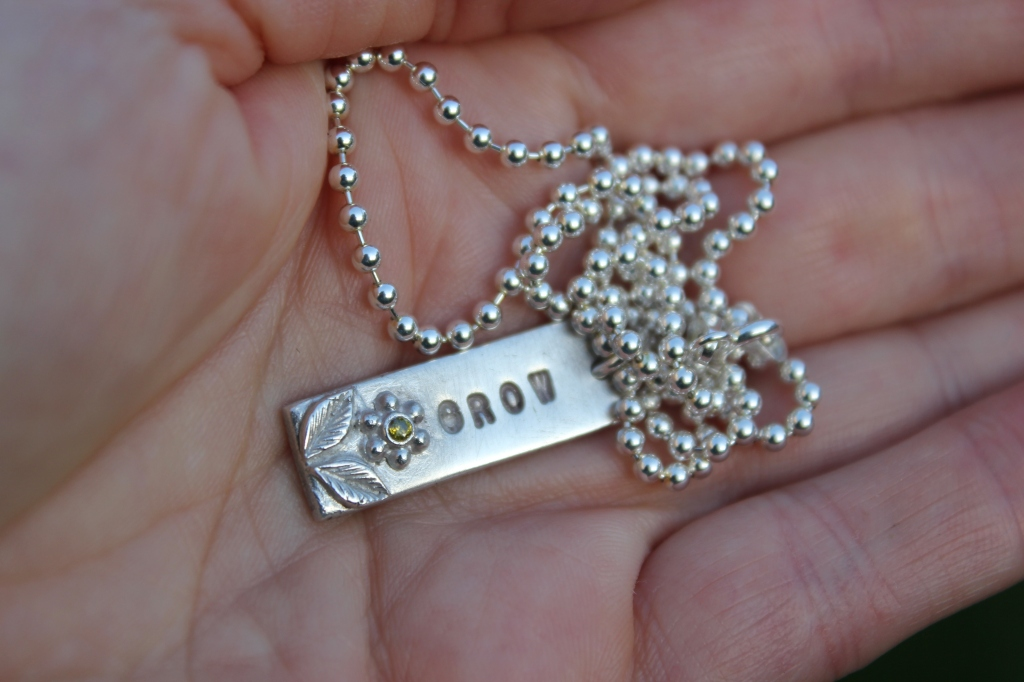 Silver dog tag pendant, silver tag necklace