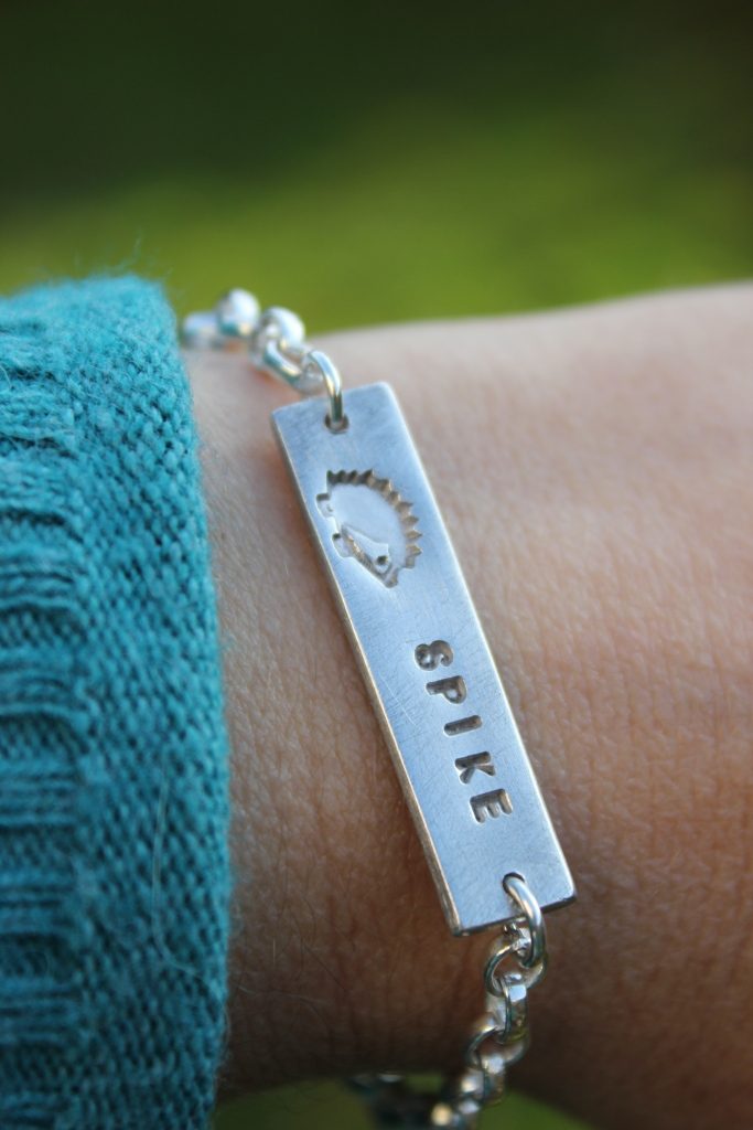 Hedgehog name bracelet, pet name bracelet
