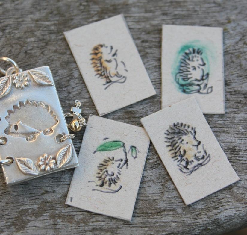 Hedgehog charm with hedgehog illustrations