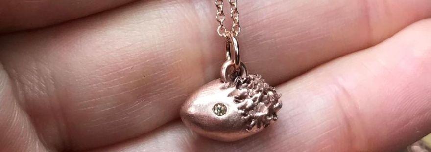 Copper hedgehog necklace, copper pendant